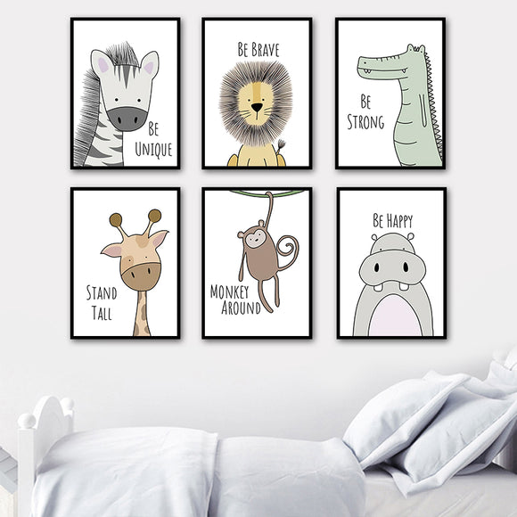 Cartoon Animals Nursery Wall Art Canvas (Zebra Hippo Giraffe Lion Crocodile ) - Gift idea