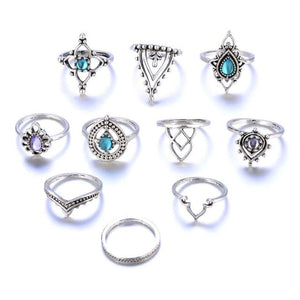 Bohemian Ten Piece Ring Set Hand Selected By Our Style Team