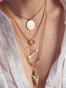 Multilayer Crystal Gold Pendant Chain