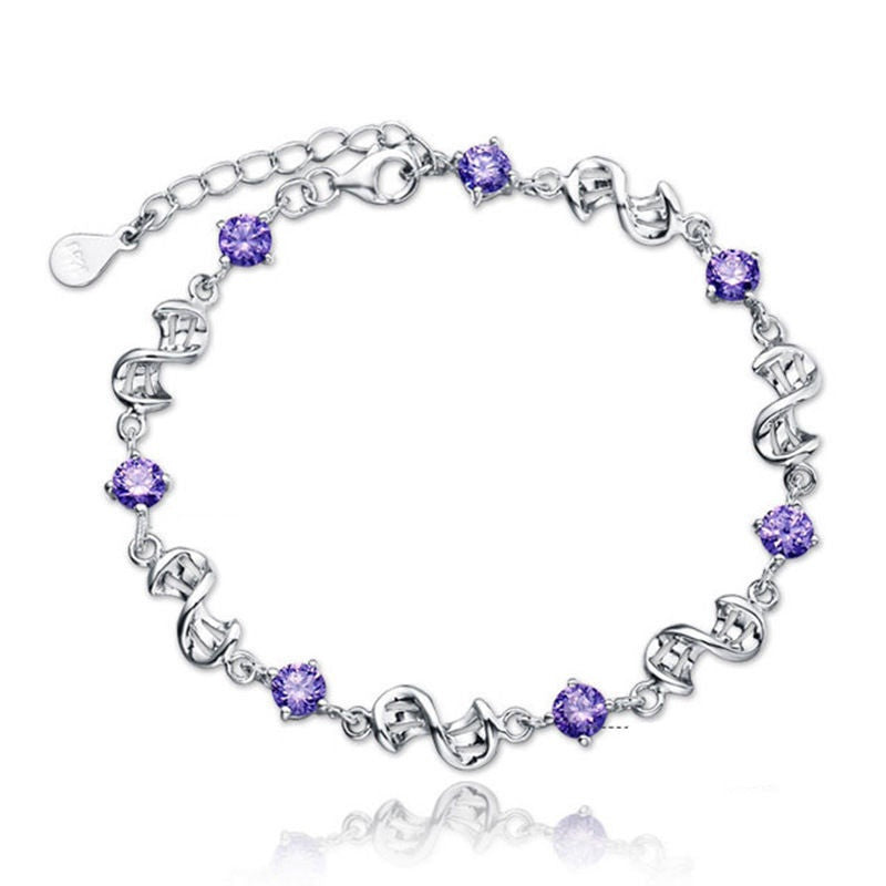 Violet Crystal Love Chain Bracelet