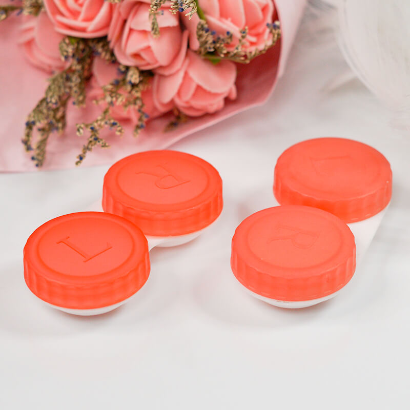 6 Pack Transparent Scrub Handy Colored Contact Case