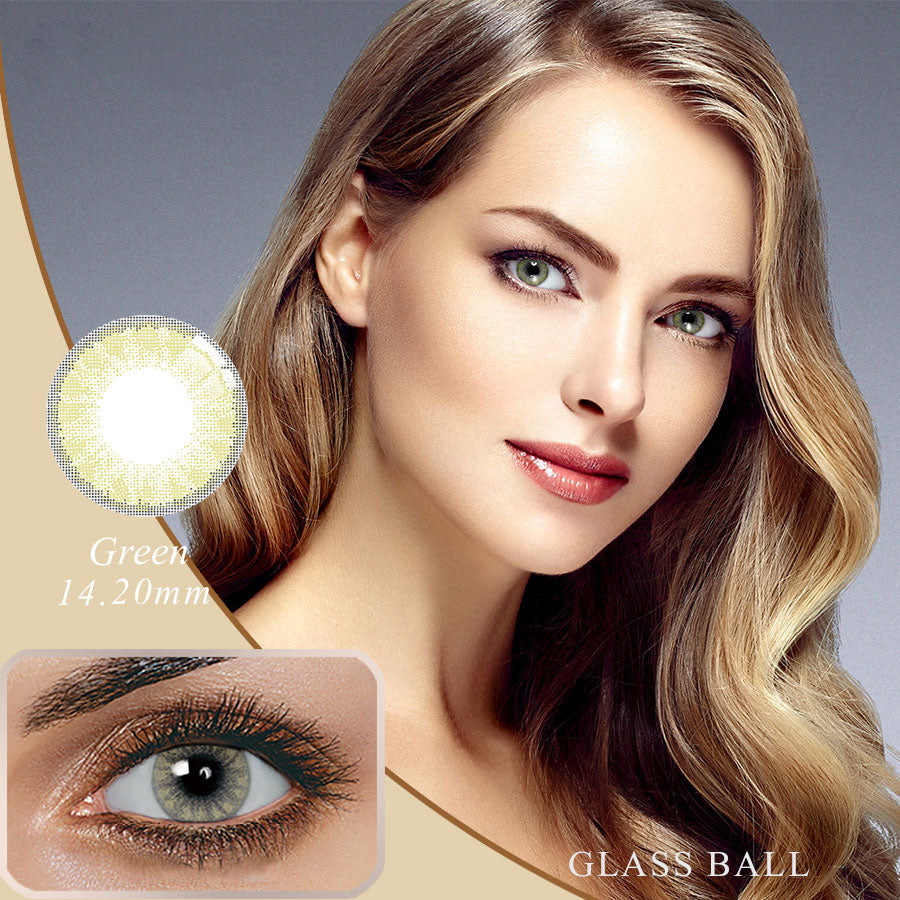 [US Warehouse] Glassball Green Prescription Yearly Colored Contacts