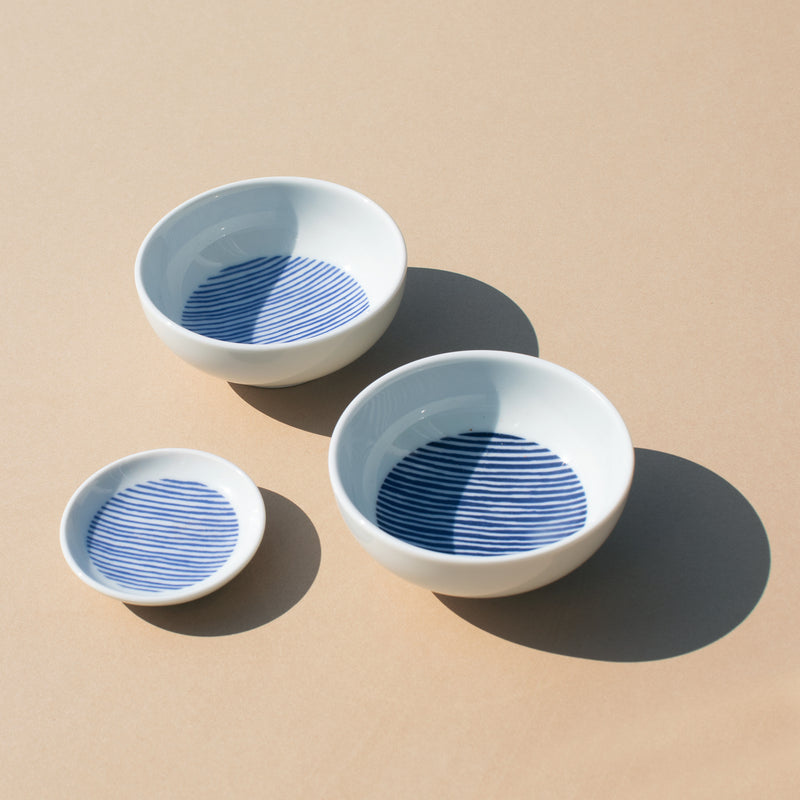Ceramic Dip Dish in Blue Stripe