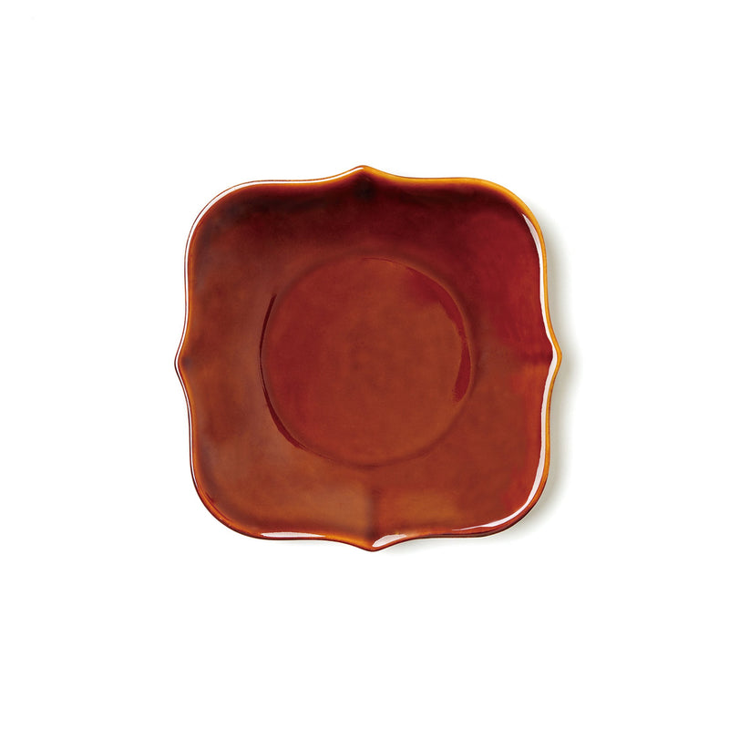 "6.1"" Antique Tile Shape Plate in Gloss Brown"
