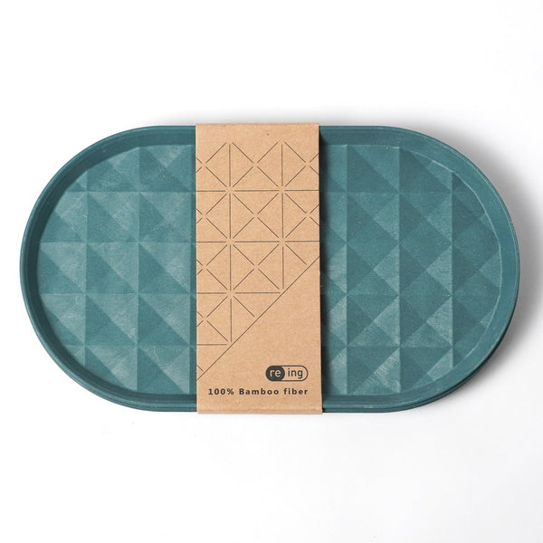 "7.4"" Re-ing Long Bamboo Plate Set in Teal"