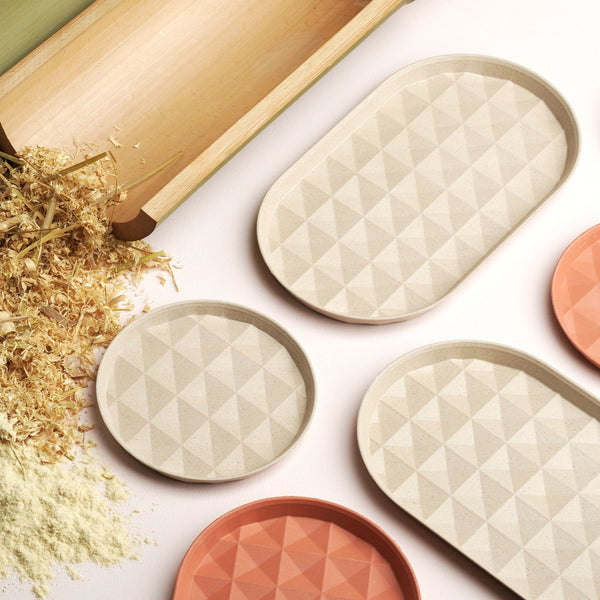 "7.4"" Re-ing Long Bamboo Plate Set in Beige"
