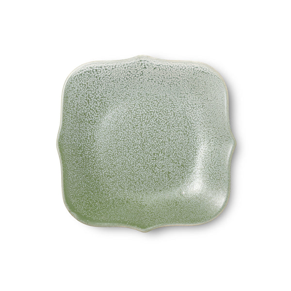 "6.1"" Antique Tile Shape Plate in Matte Green"