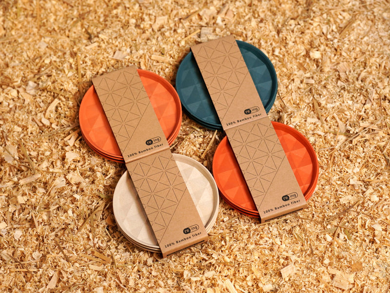 "4"" Re-ing Round Bamboo Plate Set in Orange"