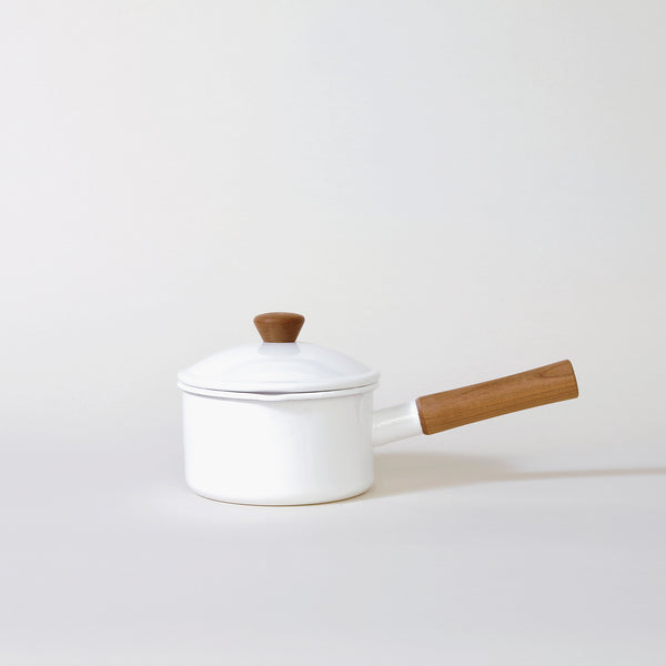 Enamel Milk Pan in White