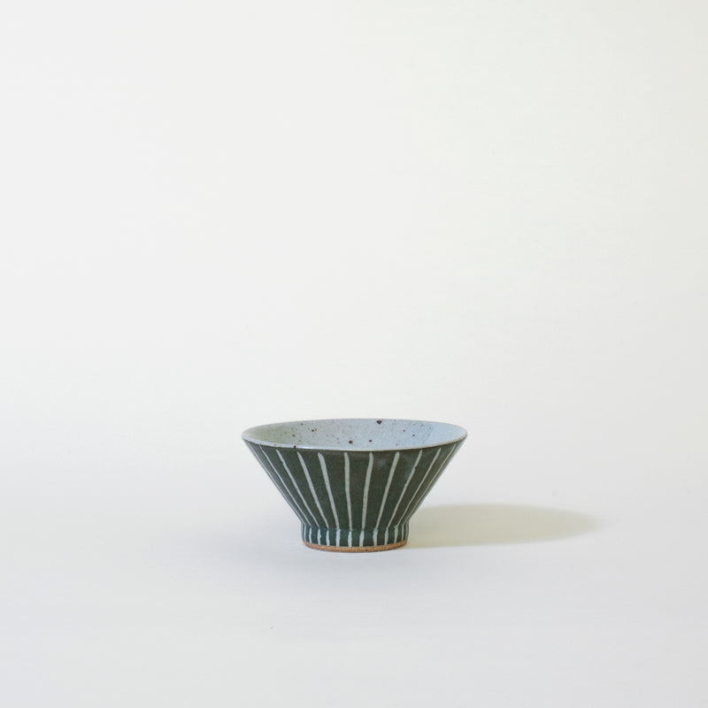 Ceramic Mt. Fuji Japanese Rice Bowl in Green Stripe