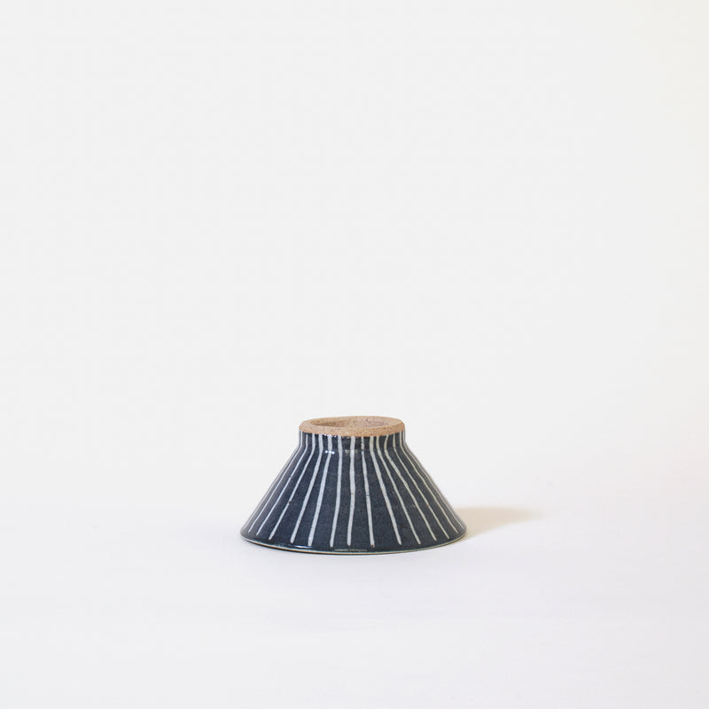 Ceramic Mt. Fuji Japanese Rice Bowl in Blue Stripe