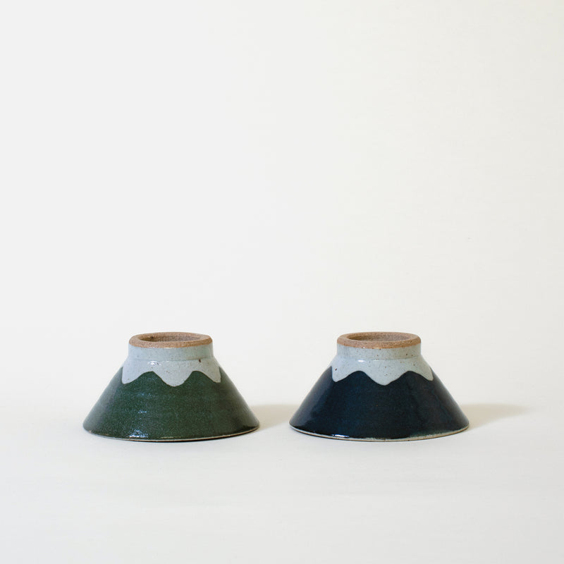 Ceramic Mt. Fuji Japanese Rice Bowl in Green