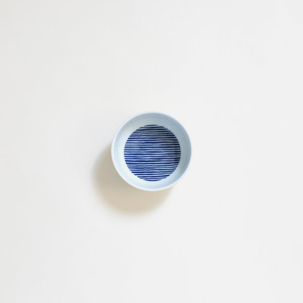 Ceramic Sauce Plate in Navy Stripe