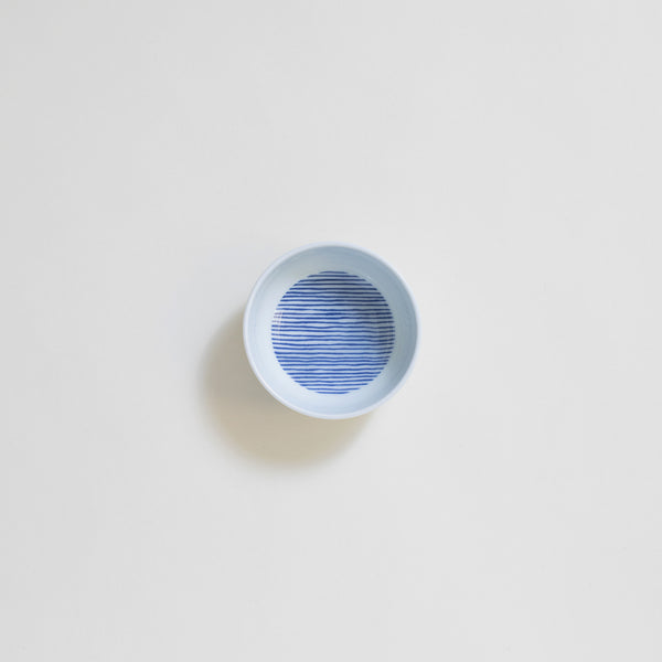 Ceramic Sauce Plate in Blue Stripe