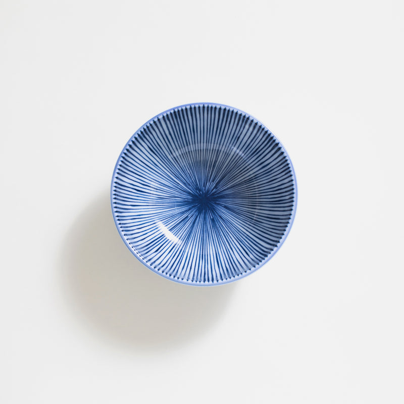 "5.7 ""Ceramic Donburi Bowl in blue stripe"