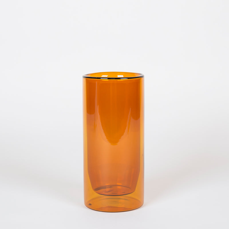 Tall Double-Wall Glass in Amber