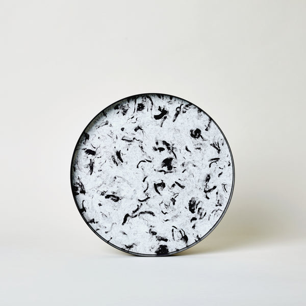 "mogutable - 11"" Cloudy Black Fibrewood Round Tray"