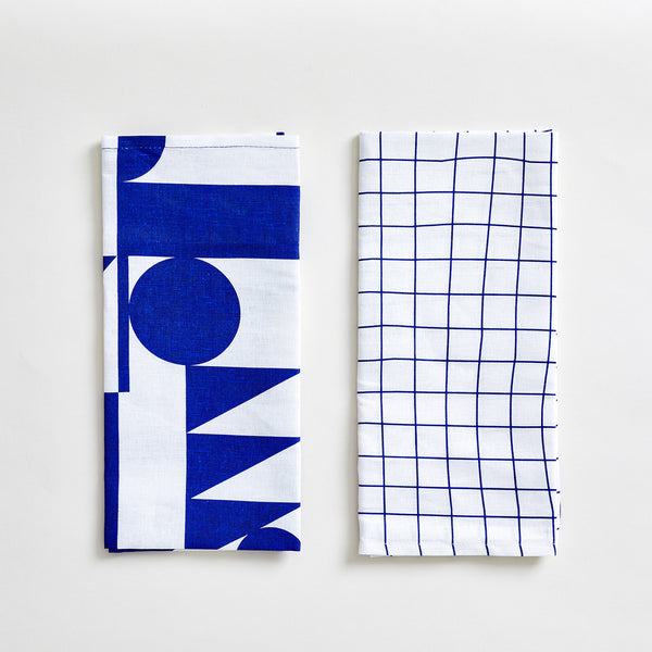 Linen Tea Towel Set in Blue