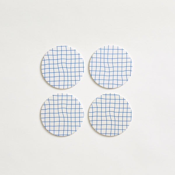 "mogutable -3.5"" Blue Grid Bamboo Coasters - top view"