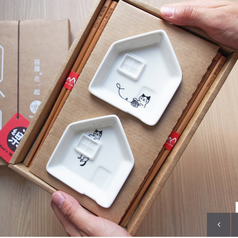 Cat Person's Casual Life Sauce Plate and Chopstick Set