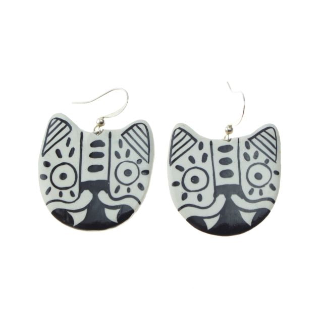 White Jaguar Earrings by Yuka Yolo