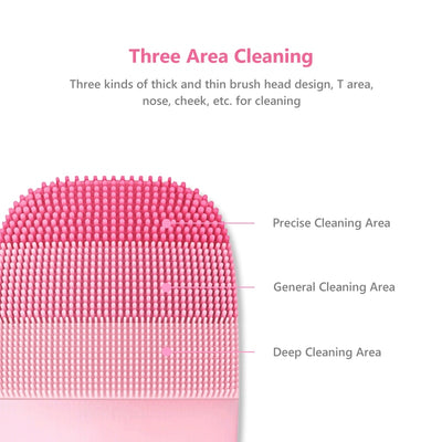 Facial Cleaning Brush Deep Cleansing Face Waterproof Silicone Electric Sonic Cleanser