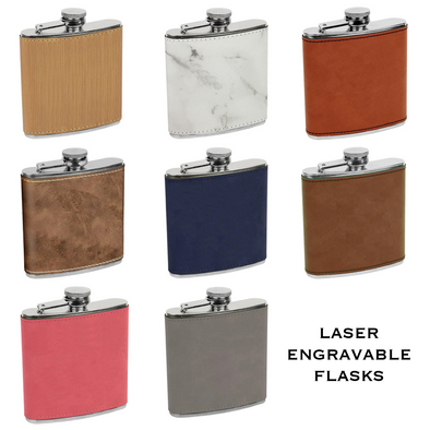 Laserable Leatherette or Cork 6 oz Stainless Steel Flask
