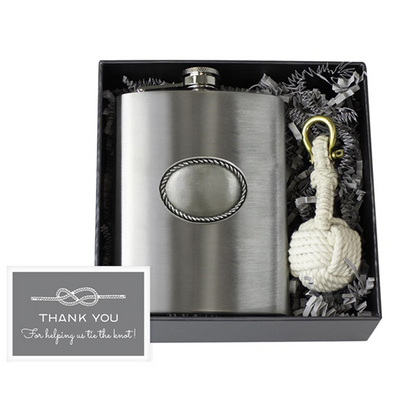 Rope Edge Stainless Flask & Knot Key Fob