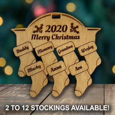 Family Stockings - wooden ornament