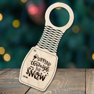 Sipping through the Snow - wine bottle tag