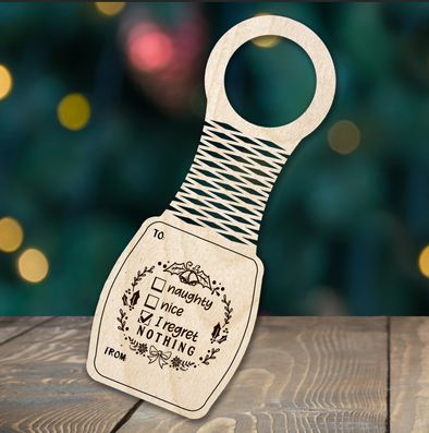 Naughty or Nice - wine bottle tag