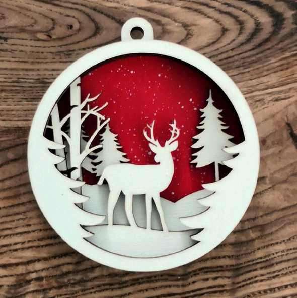 Personalized Painted Layered Deer Christmas Ornament