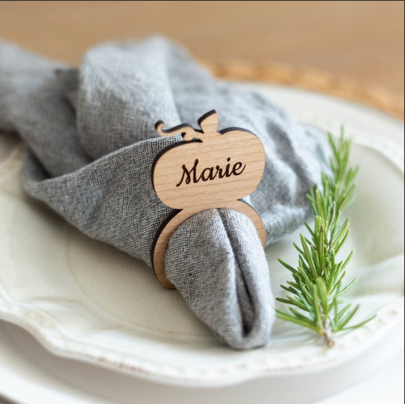 Personalized Wood Pumpkin Napkin Rings - set of 4