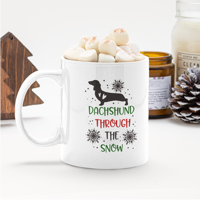 Dachshund Through the Snow 11 oz coffee mug