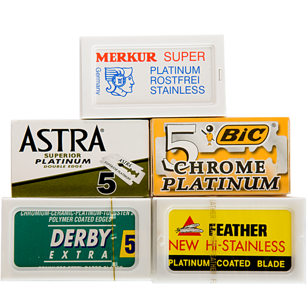 A sampler pack of 5 premium brands of razor blade