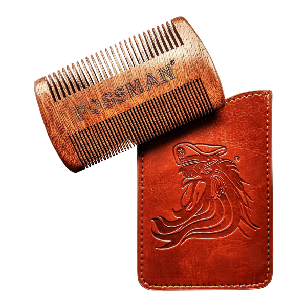 Bossman Pocket Size Sandalwood Comb and Protective Case