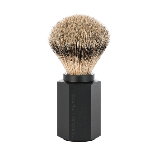 Muhle 091MHXG GRAPHITE Hexagon Shaving Brush, Silvertip Badger