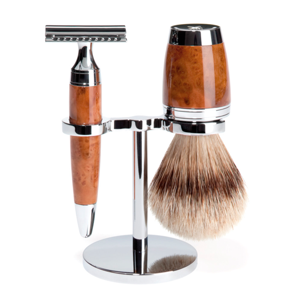 Muhle S091H71SR Stylo Thuja Wood Safety Razor Silvertip Shaving Set