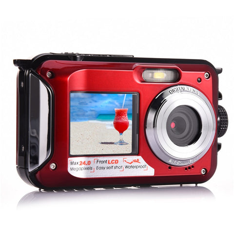 Amkov Front and Rear Dual-screen Digital Camera Life Waterproof Self-timer Camera 1080P HD Mini Camara Fotografica Digital W599