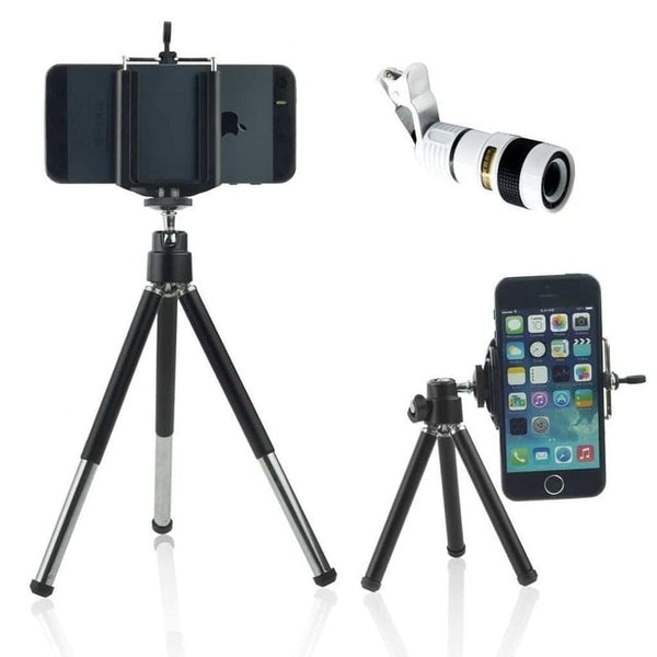 Mobile Phone Telephoto Lens 8x Zoom Optical Telescope Camera Lenses with Mini Tripod Phone holde for iPhone Samsung on-clip