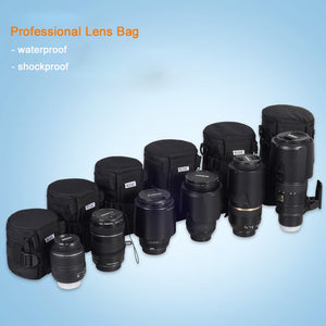 Professional Thicker Waterproof Camera Lens Padded Bag Case Pouch Protector Waist Belt Holder for Canon Nikon Tamron Sony Lens