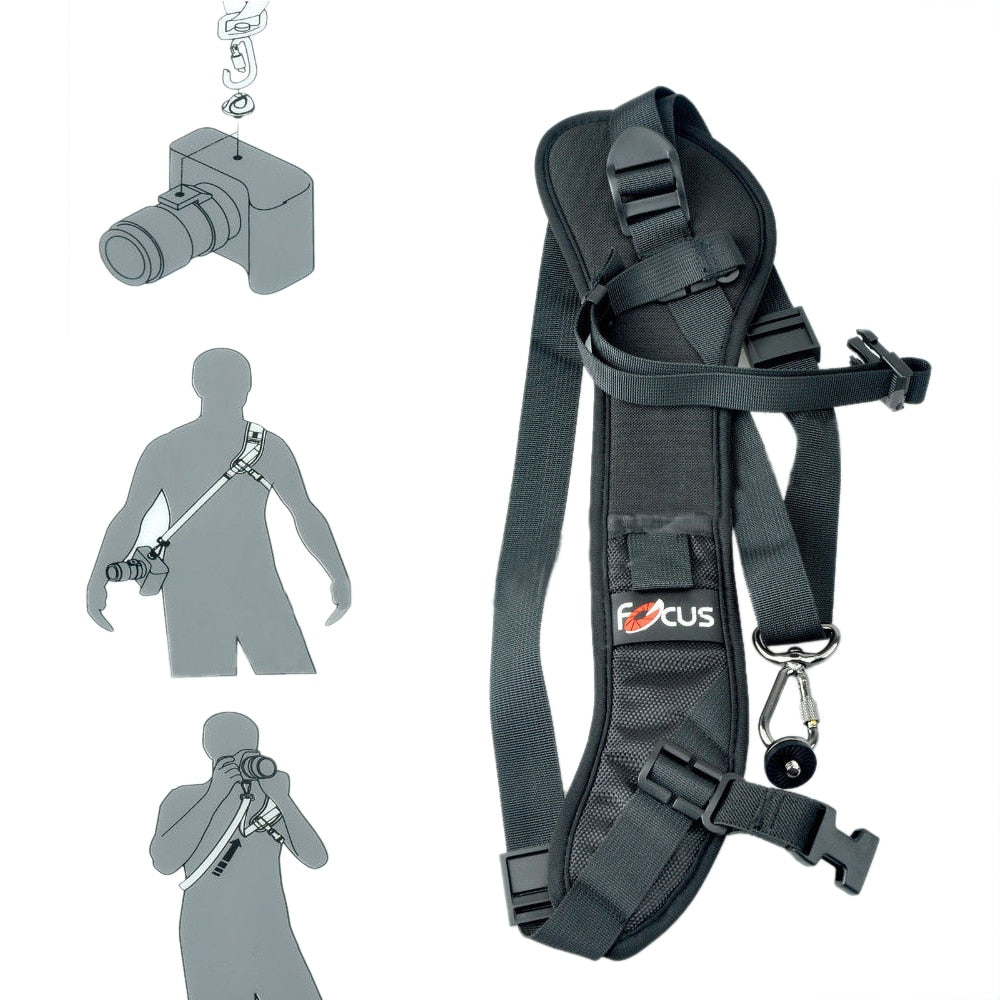 Focus F-1 Quick Rapid Carry Speed Soft Pro Shoulder Sling Belt Neck Strap For Camera SLR DSLR Black + Free Shipping