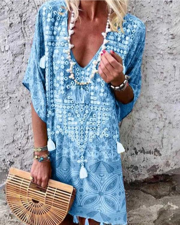 Women Bohemian V Neck Half Sleeve Mini Dresses