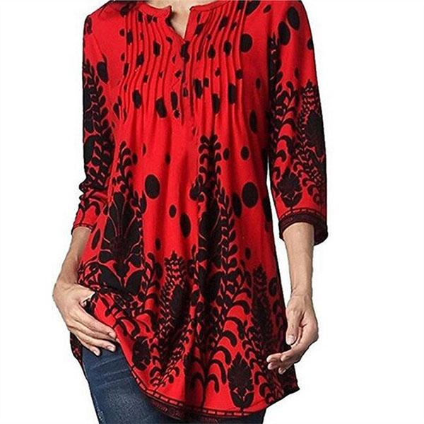 Floral Casual V-Neckline 3/4 Sleeves Blouse