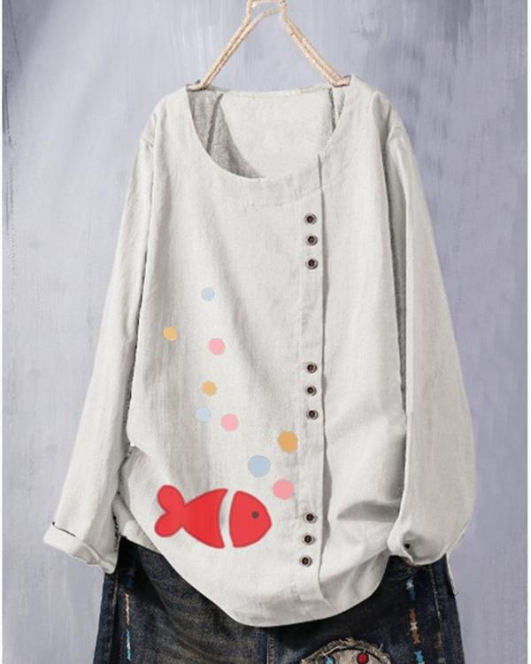 Casual Round Neck Long Sleeve Fish Printed Blouses Tops