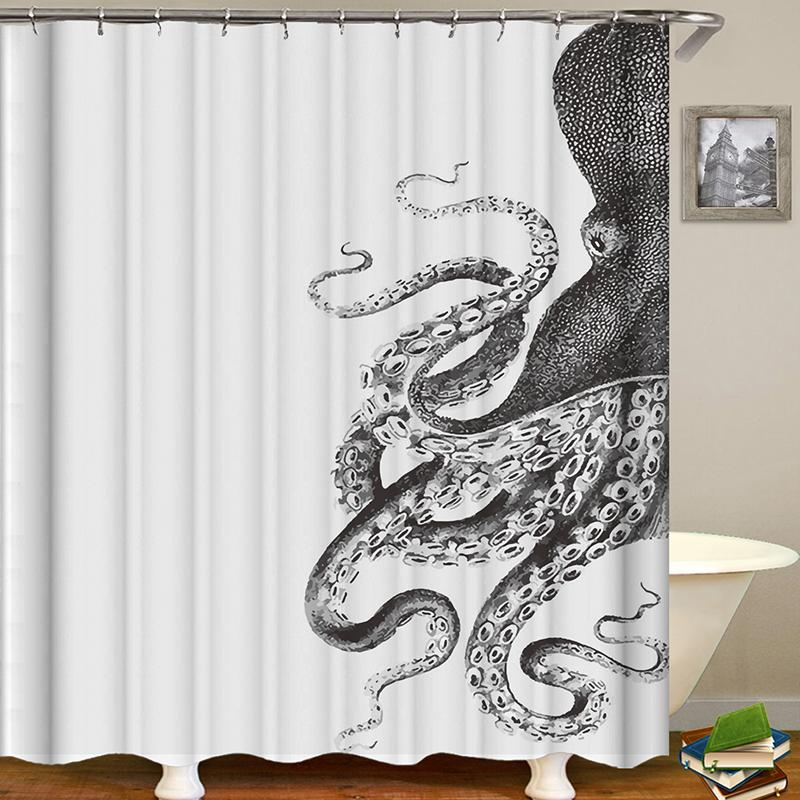 Creative Octopus Pattern Printing Waterproof Bathroom Shower Curtain