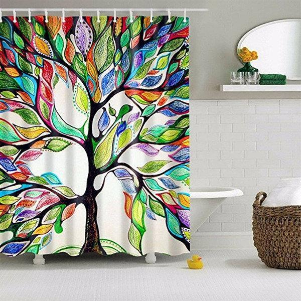 Fresh Pastoral Colorful Trees Print Shower Curtains Waterproof Bathroom Curtains Polyester