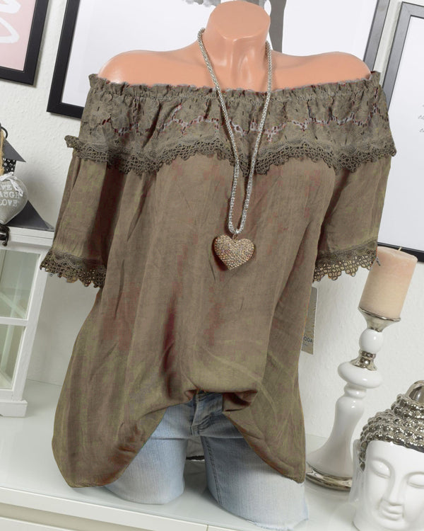 Sexy Lace Stitching Off Shoulder Hollow Solid Blouses Tops