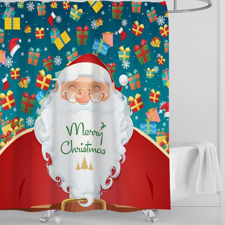 Christmas Series Pattern Bathroom Curtain Mildew Waterproof Shower Curtain