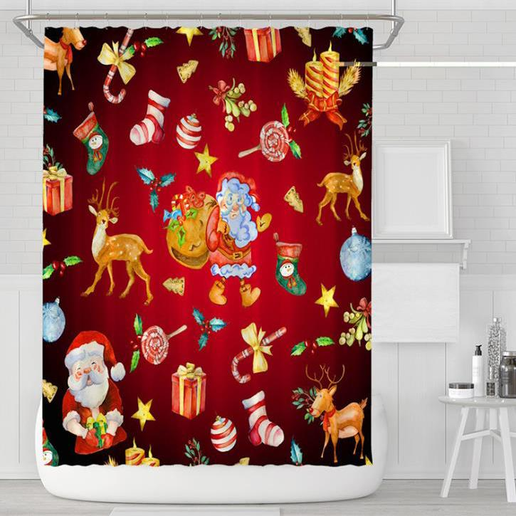 Cartoon Christmas Series Pattern Bathroom Curtain Mildew Waterproof Shower Curtain for Home Decorations